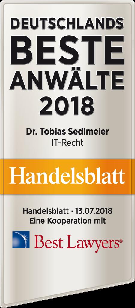 Sedlmeier/Dihsmaier - Rechtsanwälte für IT - Handelsblatt beste Anwälte